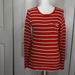 Hollister Red White Long Sleeves T-Shirt w Flare M